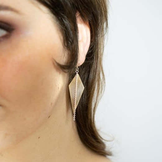 GOLD-FILL SPIKE EARRINGS WITH SILVER CHAIN 1
