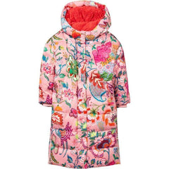 Oilily Girls Pink Cave Floral Puffer Coat