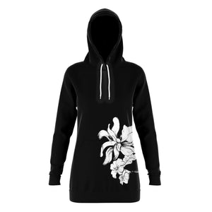 Floral Tunic Hoodie Athletic Performance Longline Sweatshirt