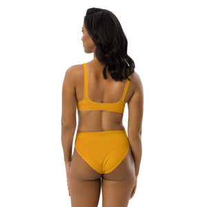 Mustard Print Recycled high-waisted bikini