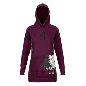 Trees Burgundy Tunic Hoodie Athletic Performance Longline Sweatshirt