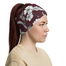 Burgundy Floral Neck Gaiter Headband Face Shield