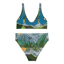 Geometric Mountains Recycled high-waisted bikini