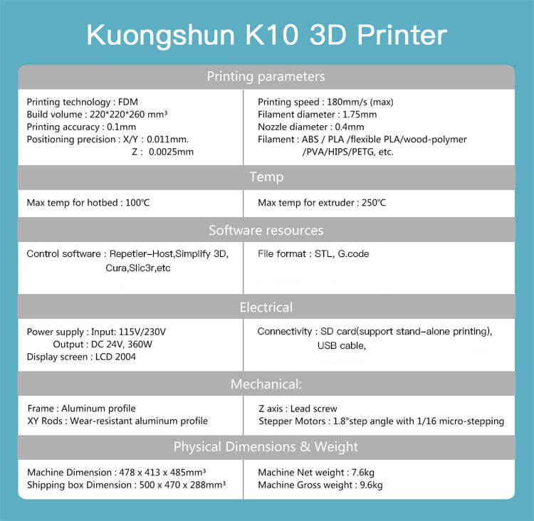 kuongshun K10 3D printer