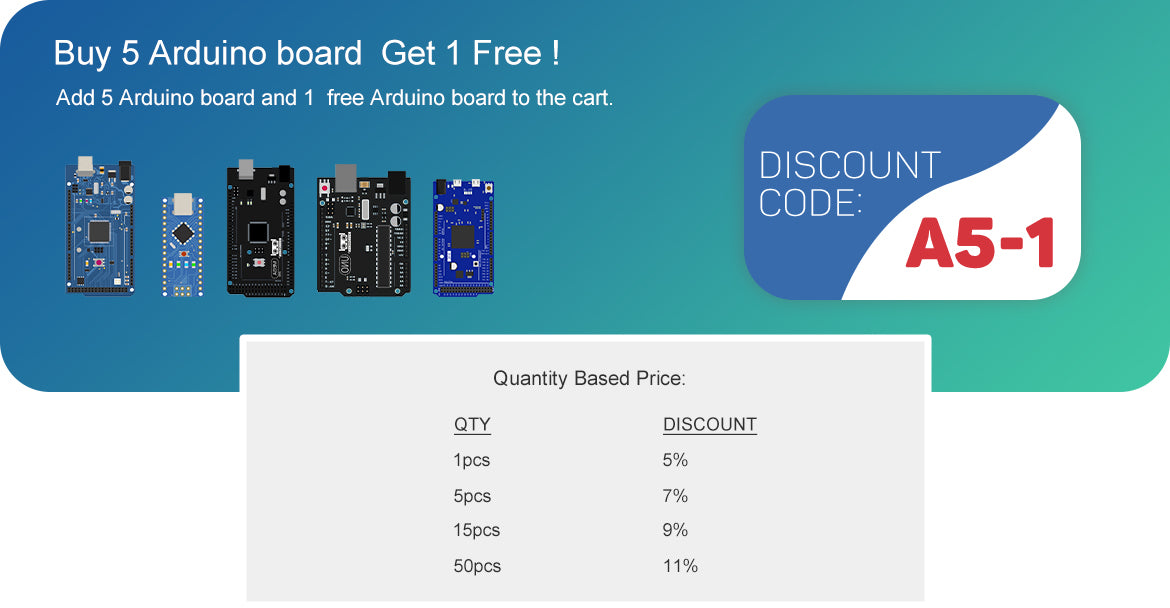 buy 5 Arduino board get 1 free