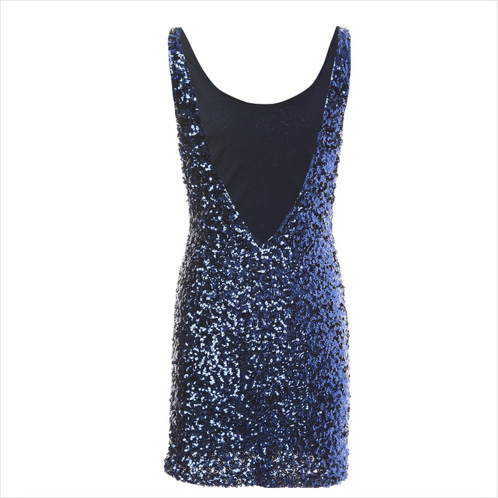 1980s BLUE SEQUINED DRESS