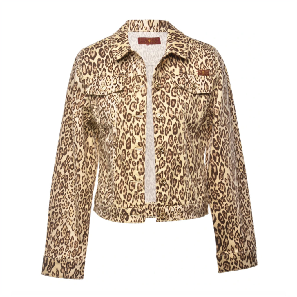 1990s Leopard Pattern Denim Jacket - S