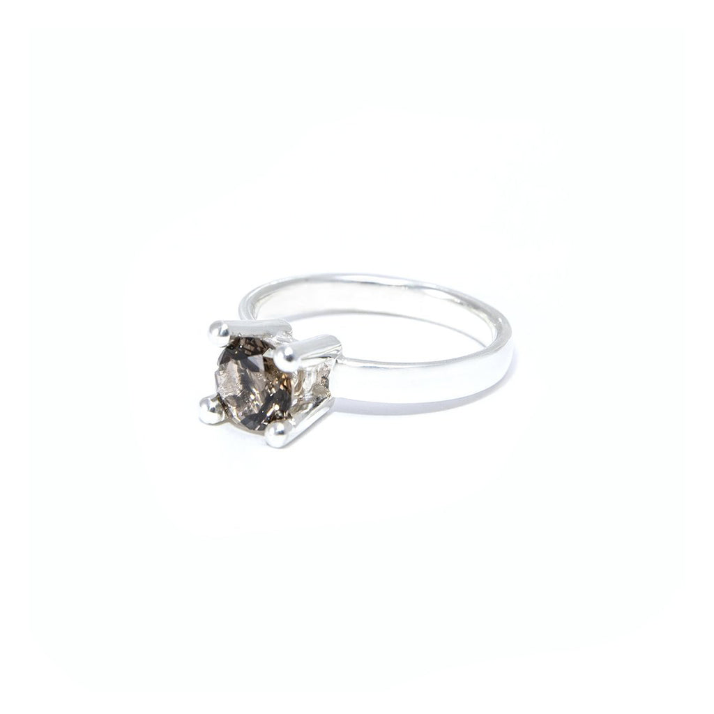 LADY FLOWER - SILVER RING WITH SWISS SMOKY QUARTZ / ROCK CRYSTAL