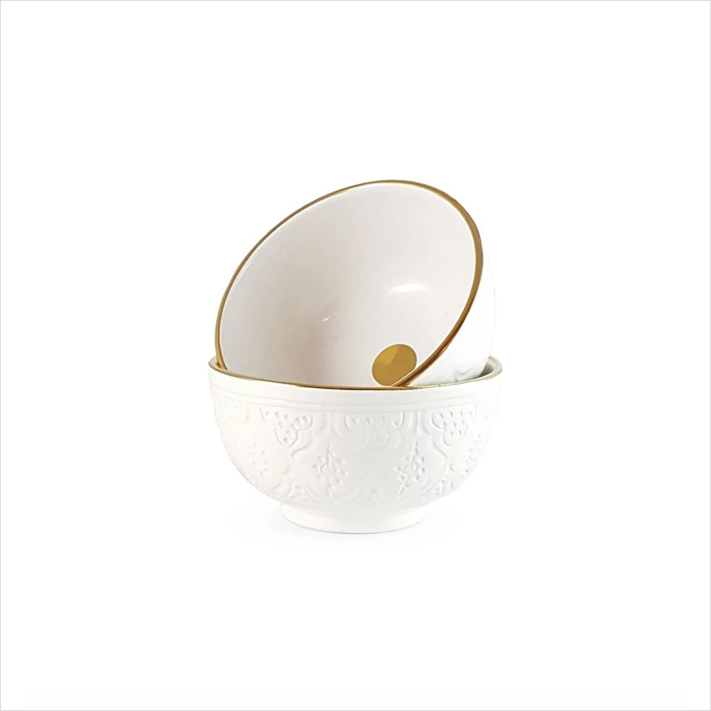 CERAMIC PASTA BOWL - WHITE & GOLD