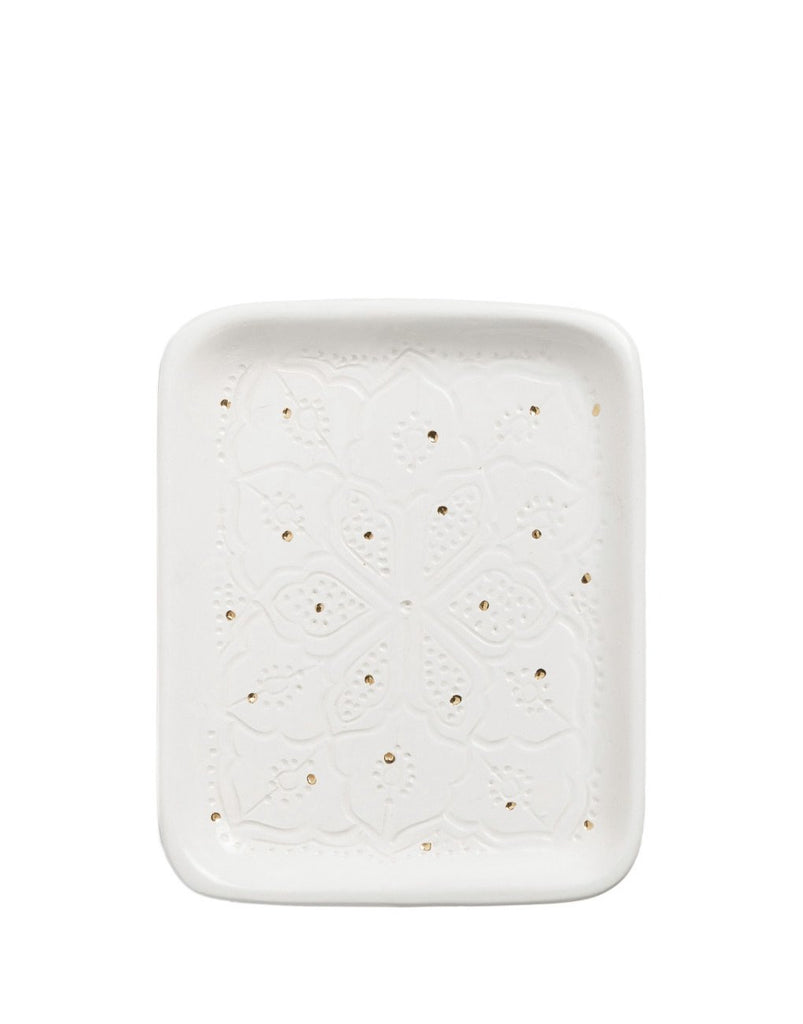 CERAMIC TRAY - WHITE & GOLD - SMALL