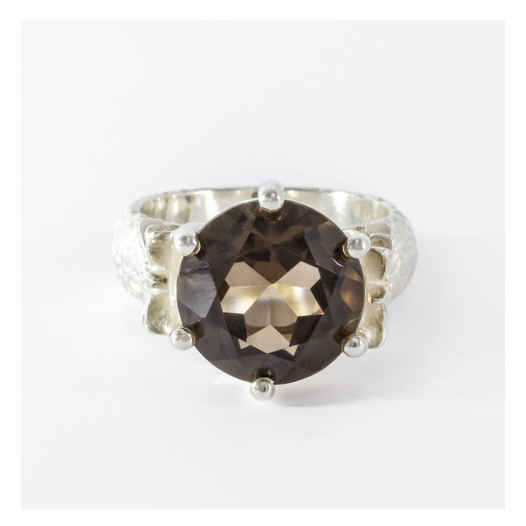 EDELWEISS - SILVER RING WITH SWISS SMOKY QUARTZ