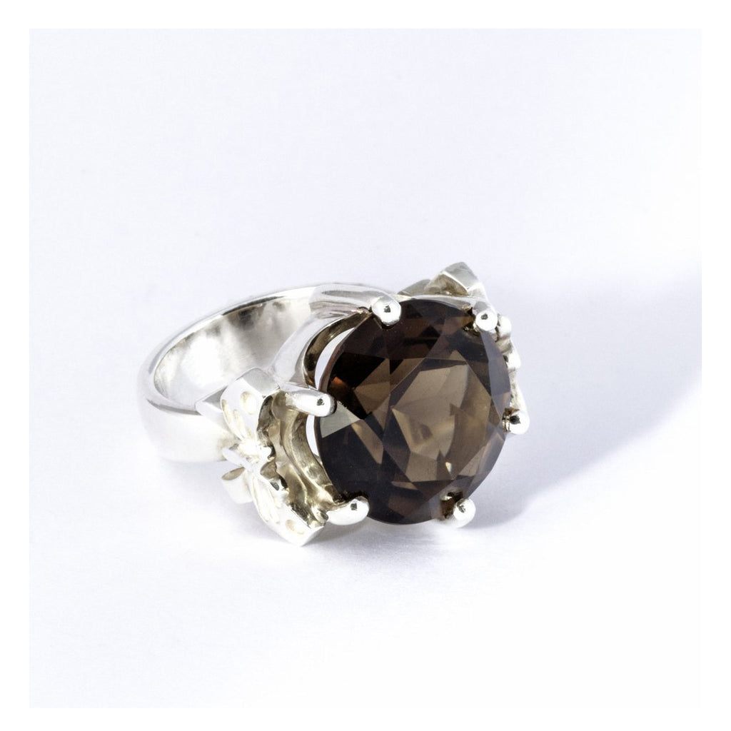 FEROCIOUS BUTTERFLY - SILVER RING WITH SWISS SMOKY QUARTZ