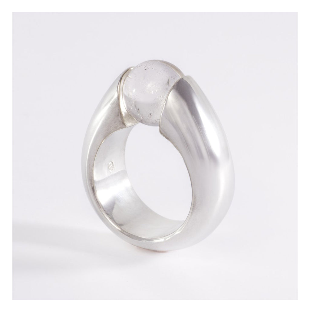 GAIA - SILVER RING WITH SWISS ROCK CRYSTAL