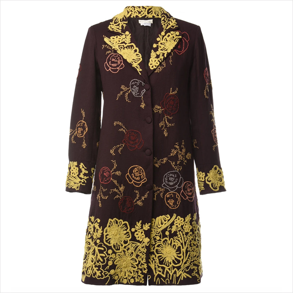 Megan Park Embroidered Wool Coat - M