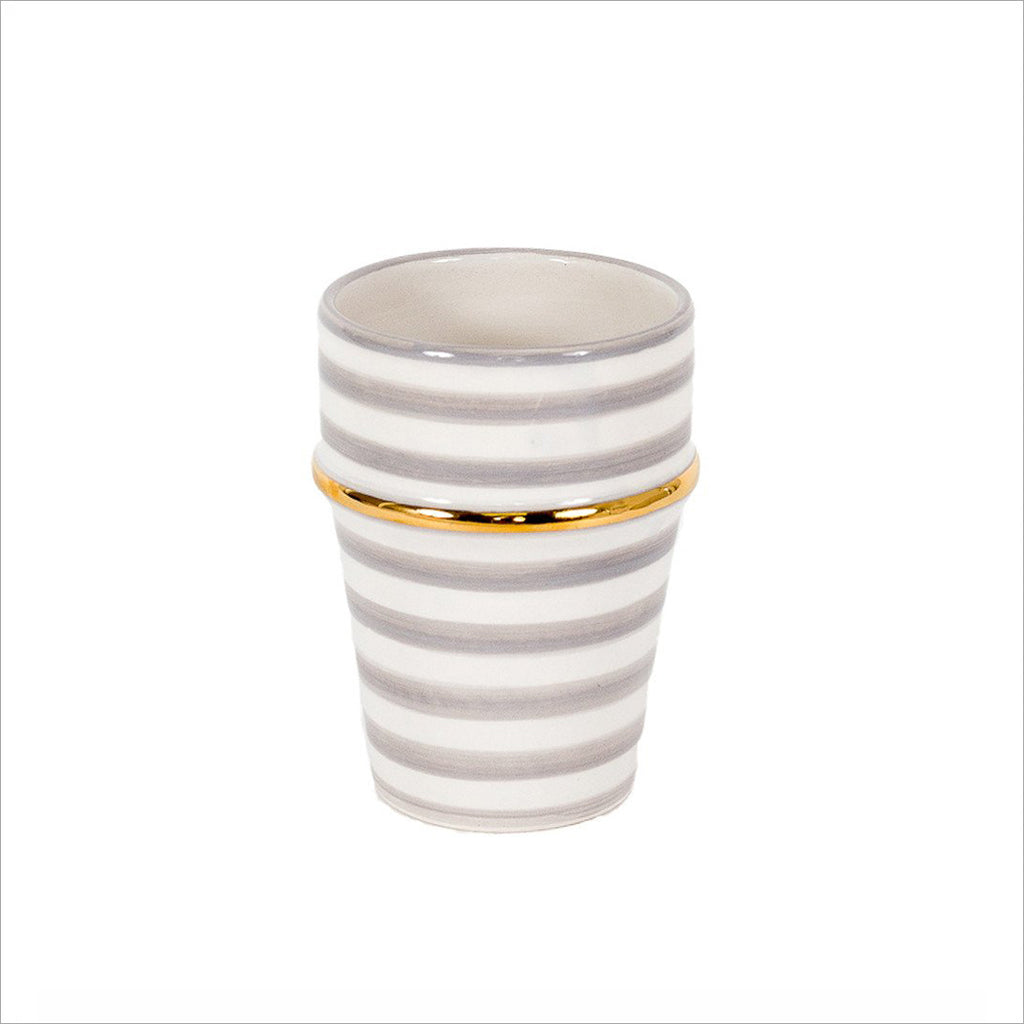 MOROCCAN STRIPED CERAMIC CUP - GREY & GOLD