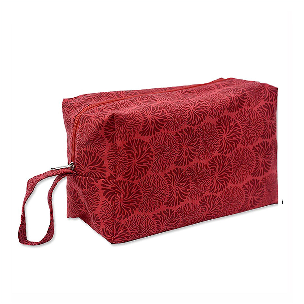 LARGE COSMETIC CASE - RED MAROON