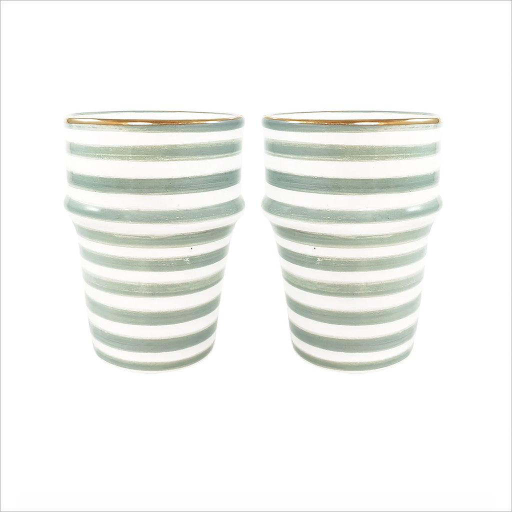 MOROCCAN STRIPED CERAMIC CUP - GREEN & GOLD