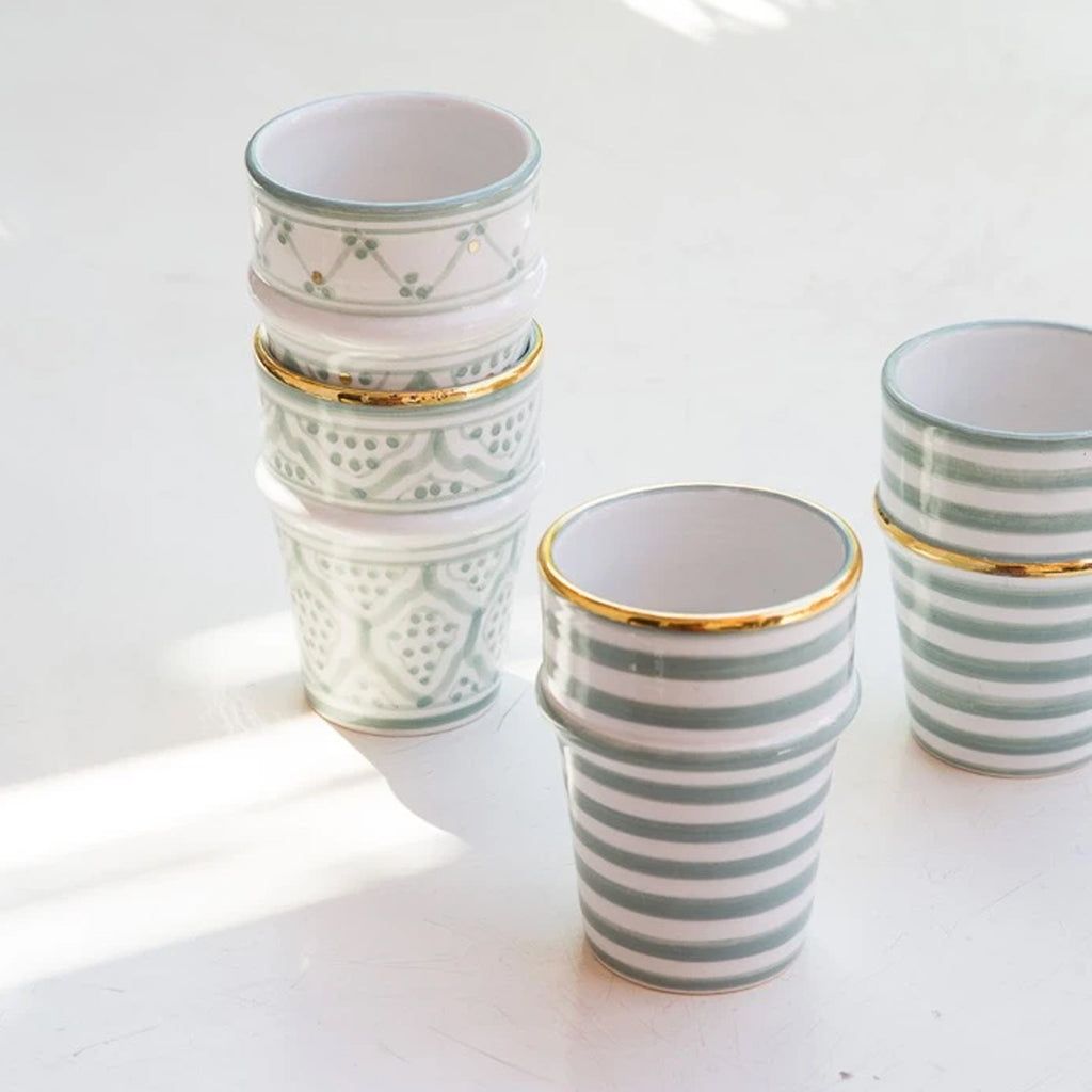 MOROCCAN CERAMIC CUP - GREEN & GOLD