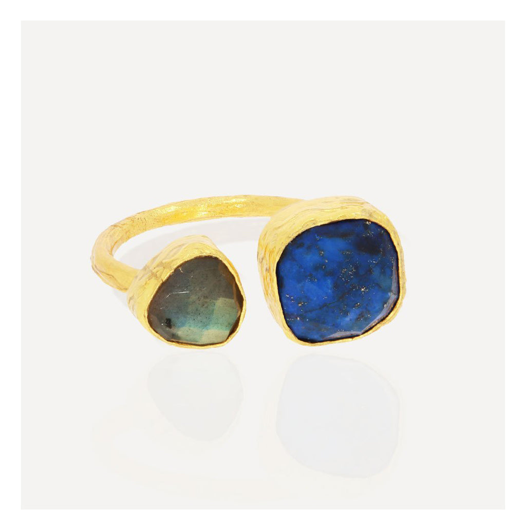 Duo Labradorite and Lapis Ring