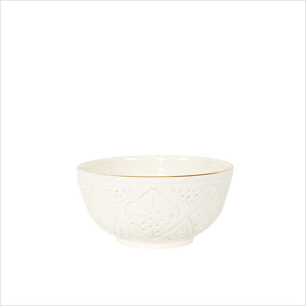 CERAMIC SOUP BOWL - WHITE & GOLD