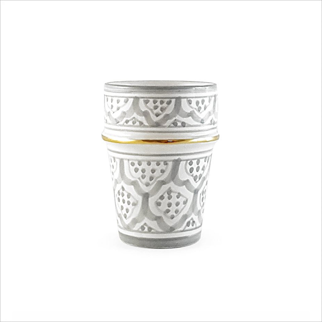 MOROCCAN CERAMIC CUP - GREY & GOLD