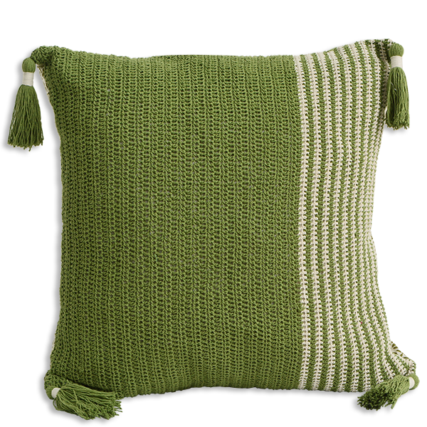 CUSHION CROCHET GREEN – SLIM STRIPE