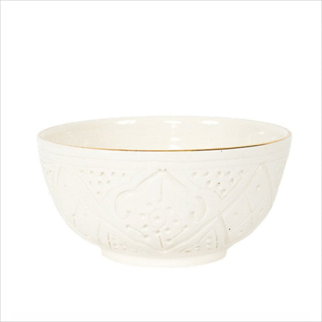 CERAMIC SALAD BOWL - WHITE & GOLD