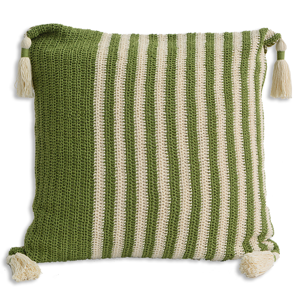 CUSHION CROCHET GREEN – WIDE STRIPE