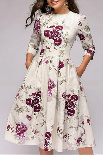 Parahop Round Neck Floral Printed MIdi Skater Dress