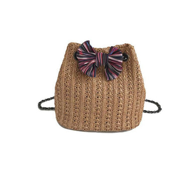 Fashion Knitting Bowknot One Shoulder Bucket Bag - Chicsit