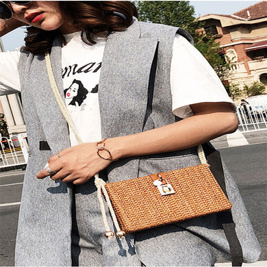 Fashion Plain Straw Knitting One Shoulder Bag - Chicsit