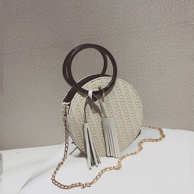 Fashion Plain Straw Chain One Shoulder Round Hand Bag - Chicsit
