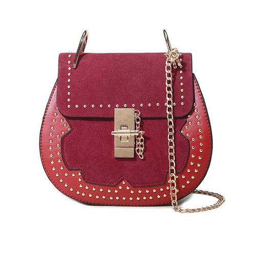 Patchwork  Rivets Chain Round Crossbody Bag