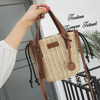 Fashion Plain Knitting Beach One Shoulder Hand Bucket Bag - Chicsit