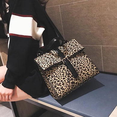Sweet Fashion Casual Leopard Print Leather One Shoulder Backpack Bag