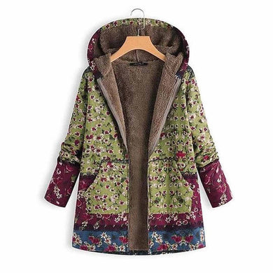 Women's Hooded Floral Print Coat