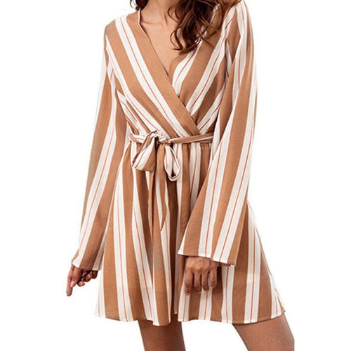 V Neck  Belt  Striped  Long Sleeve Skater Mini Dress