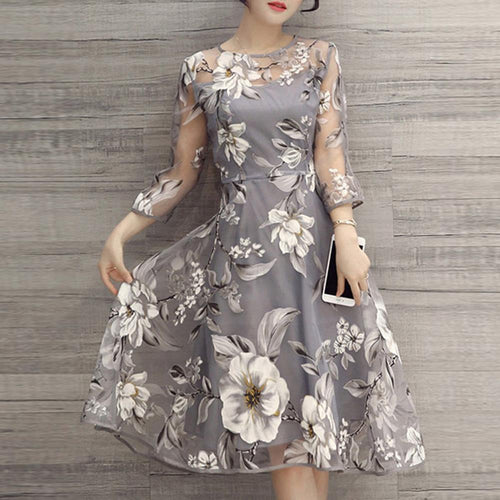 Floral Printed See-Through Midi Skater Dress