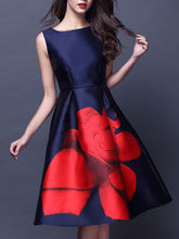 Load image into Gallery viewer, Summer Boat Neck Flower Printed Sleeveless Skater Dress