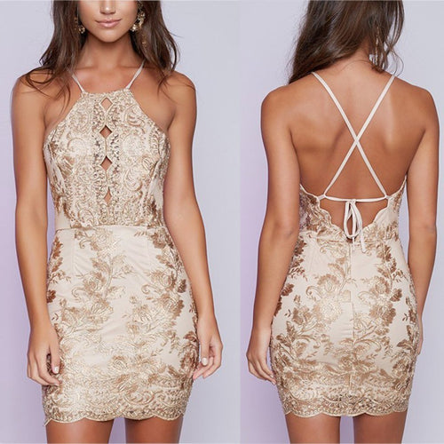 Lace Sexy Halter Package Hip Evening Dress