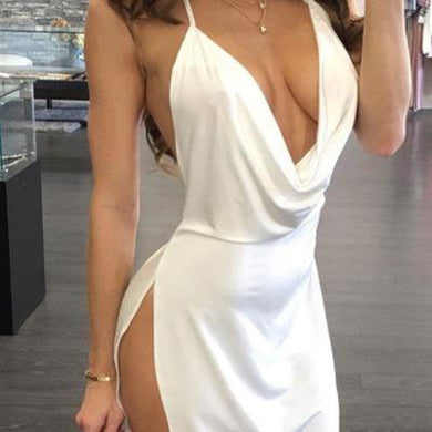 Spaghetti Strap  Backless High Slit  Plain  Sleeveless Bodycon Dresses
