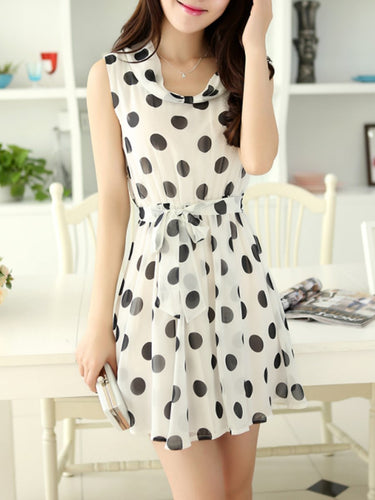 Cowl Neck  Polka Dot Skater Dress