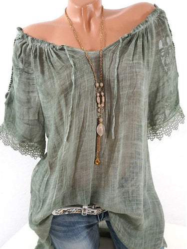 Off The Shoulder Decorative Lace Plain Short Sleeve Blouses