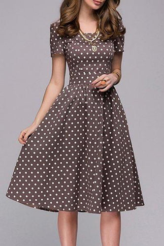 Parahop Boat Neck Polka Dot Short Sleeve Skater Dress
