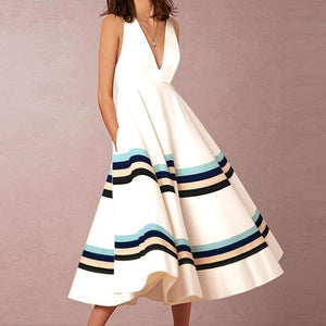 Parahop Sexy V-Neck Printed Stripe Sleeveless Vacation Dress