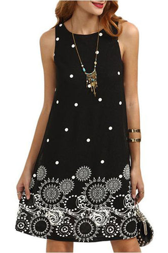 Round Neck  Polka Dot Printed Casual Dress