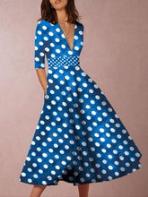Load image into Gallery viewer, Parahop V-Neck Polka Dot Printed Casual Dresses