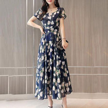 Load image into Gallery viewer, Round Neck  Floral Printed Maxi Dress