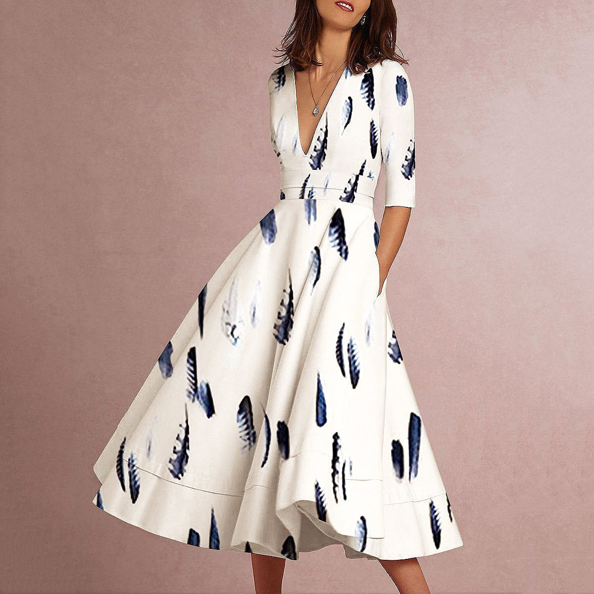 Sexy Elegant Deep V Collar Feather Floral Printed Skater Dress