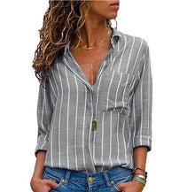 Load image into Gallery viewer, Multi Color Stripe Printed Long Sleeve Shirts